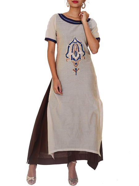 Resham & Beads Work Layered Chanderi Kurti
