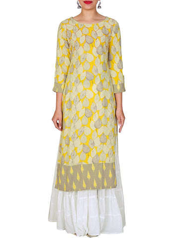 Crystal Ornamented Abstract Leaf Jaal Printed Kurti