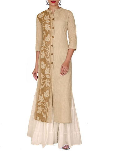Wooden Buttoned Woven Textured Cotton Handloom Kurti - Cream & White