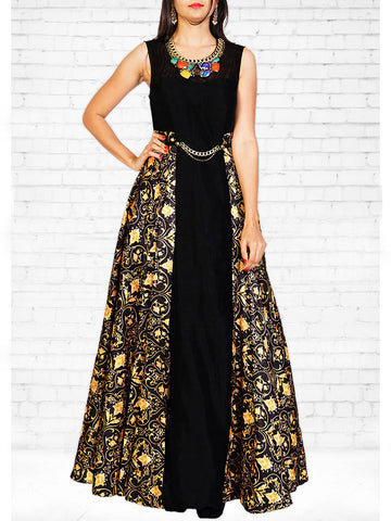Floral Printed Art Silk Gown Set