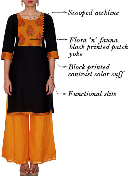 Flora 'N' Fauna Block Printed Yoke Cotton Kurti - Black