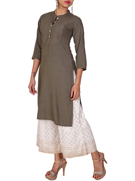 Embroidered Yoke Rayon Kurti - Brown