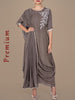 Pleated Drape With Zari Dori Work Cowl Hem Kurti - Warm Grey