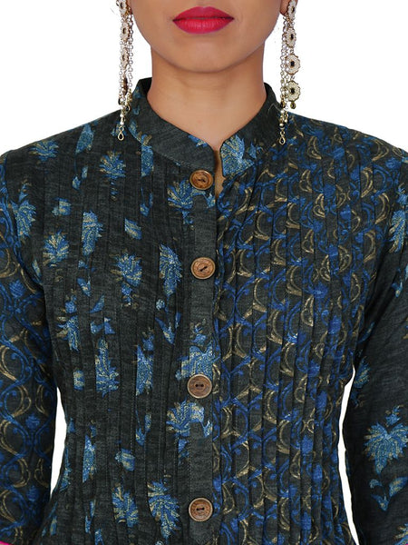 Ethnic Baile & Floral Buti Printed Pin-Tucks Cotton Kurti - Blue