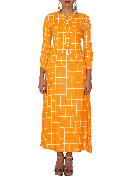 Mother-of-Pearl Button & Tasselled Chequered Print Kurti - Yellow