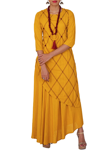 Twisted Dori Tasselled Neckpiece & Resham Work Cotton Kurti