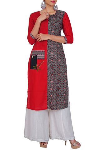 Resham & Applique Work Block Printed Cotton Kurti