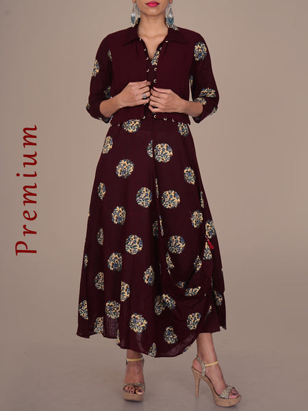 Stitched Shrug With Floral Print Tucked Cowl Hem Cotton Kurti