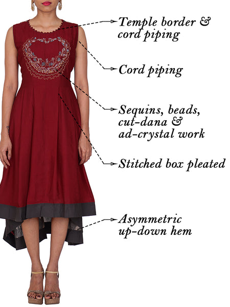 Ad-Crystal, Beads & Sequined Pleated Asymmetric Kurti