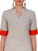 Flora-Fauna Hand Painted Geometric Print Cotton Kurti