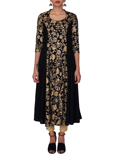 Golden Pigment Printed Floral Jaal Flared Kurti