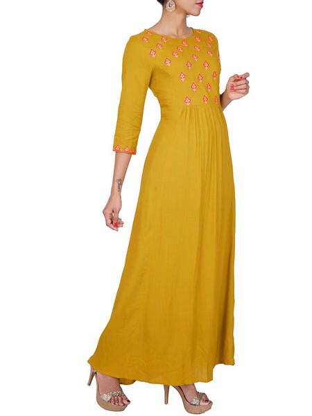 Floral Zari & Resham Work Gathered Kurti - Mustard Green