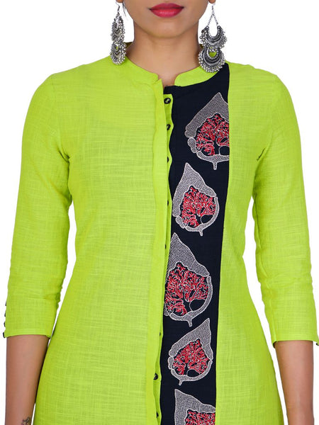 Resham Work Leaf Buti Cotton-Slub Kurti - Lime Green