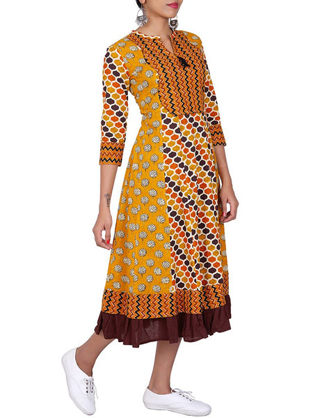 Floral Block Print & Abstract Print Ruffled Cotton Anarkali Kurti