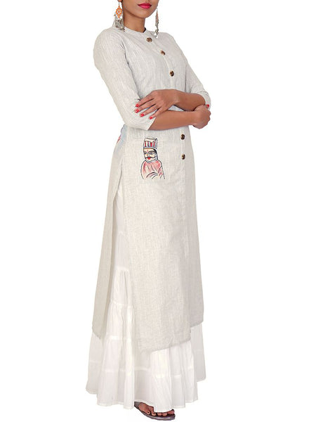 Hand painted Two-Toned Cotton Handloom Kurti