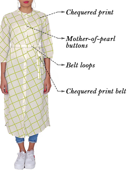 Mother-Of-Pearl Buttoned Belted Chequered Cotton Kurti - Lime Green