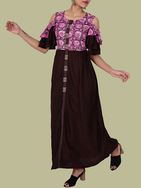 Pearl & Tikki Work, Layered Cold Shoulder Sleeves Kurti