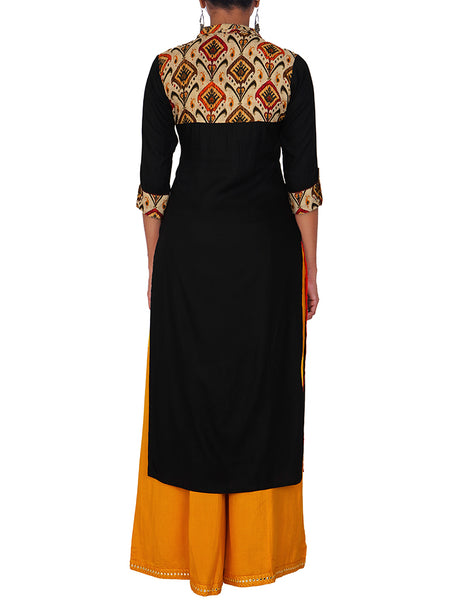 Oxidised Brooch & Resham Work Shirt Collared Kurti