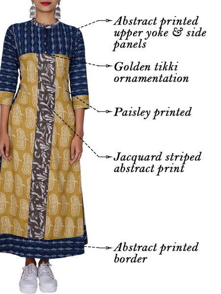 Golden Tikki Work Printed Panelled Cotton Kurti