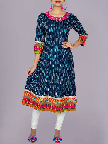 Resham, Beads & Sequined Print Cotton Anarkali