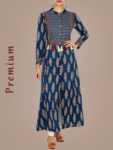 Floral Printed A-Line Cotton Kurti with Chinese Collar