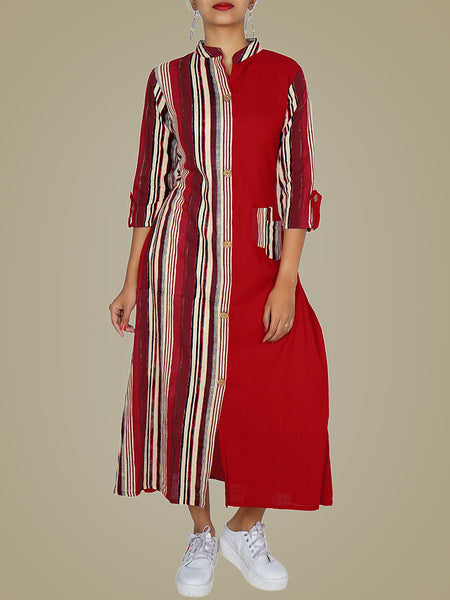 Wooden Button Striped A-Line Kurti - Red