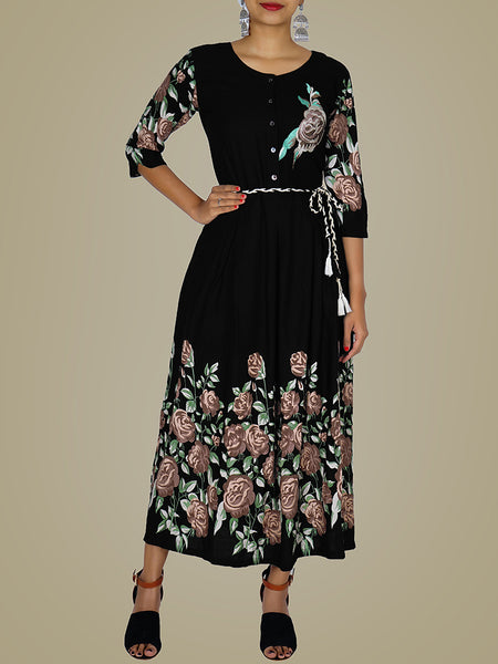 Rose Embroidered Flared Kurti