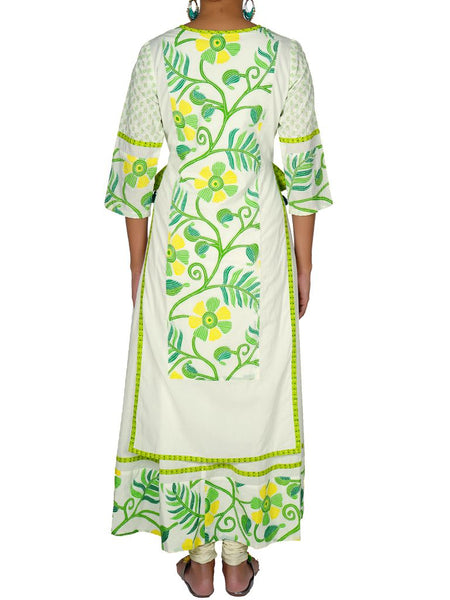 Floral Resham Work & Pearl Tasselled Double Layered Kurti