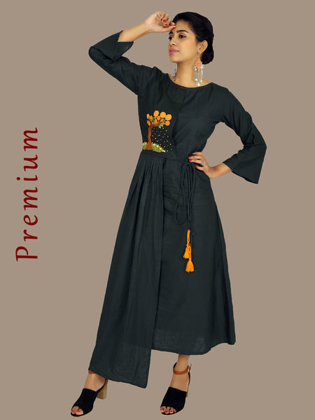 Resham Dori Knot Work & Tasselled Cotton Handloom Kurti
