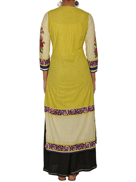 Floral Resham Work Printed Cotton Kurti