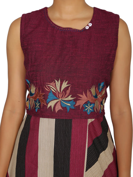 Resham Work Crop Top & Handkerchief Hem Cotton Jacquard Kurti