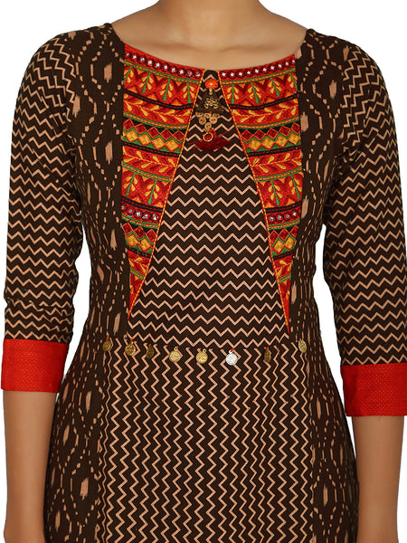 Floral, Ethnic & Geometric Busy Printed Cotton-Silk Kurti