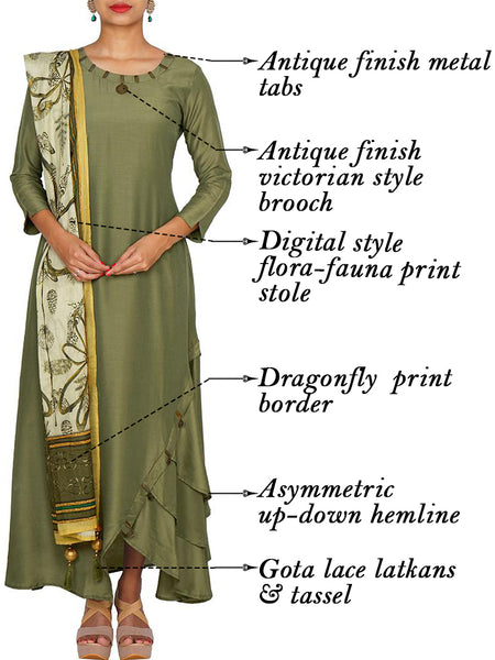 Flora-Fauna Print Tasselled Stole & Antique Finish Victorian Brooch & Tab Work Silk-Cotton Kurti