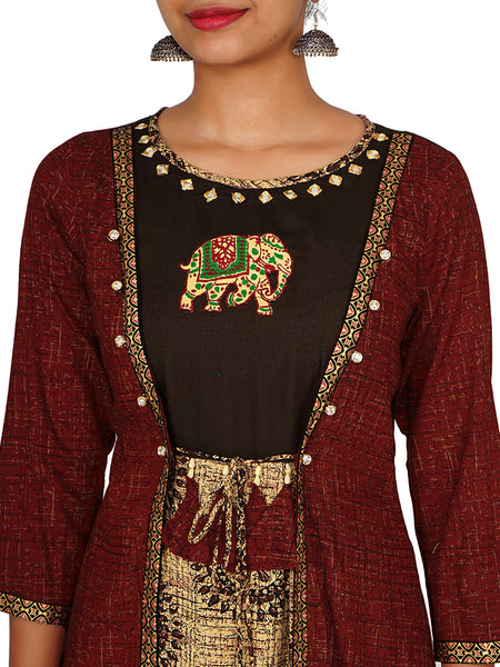 Crystal Studded Foil Mirror & Applique Work Layered Cotton Kurti