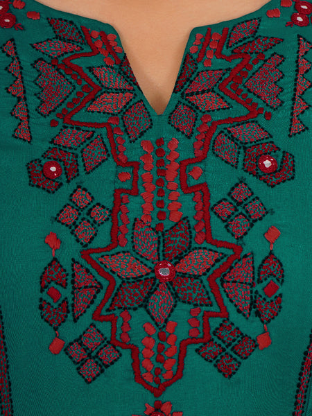 Floral Kantha Stitch & Foil Mirror Work Flared Sleeves Bohemian Kurti