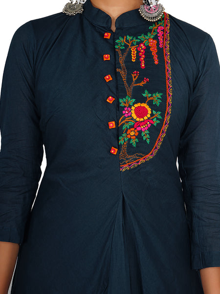 Floral Kantha Stitch & Coloured Stone Beaded Cotton Kurti