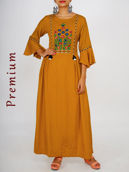 Resham, Beads & Kantha Stitch Work Tasselled Bell Sleeves Kurti