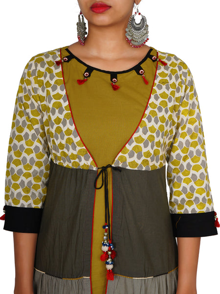 Dori Tie-up Tiered Jacket & Buttons, Beads & Tasselled Cotton Kurti