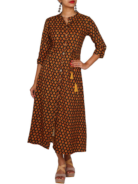 Dori & Tasselled Pleated Ethnic Print Cotton Kurti