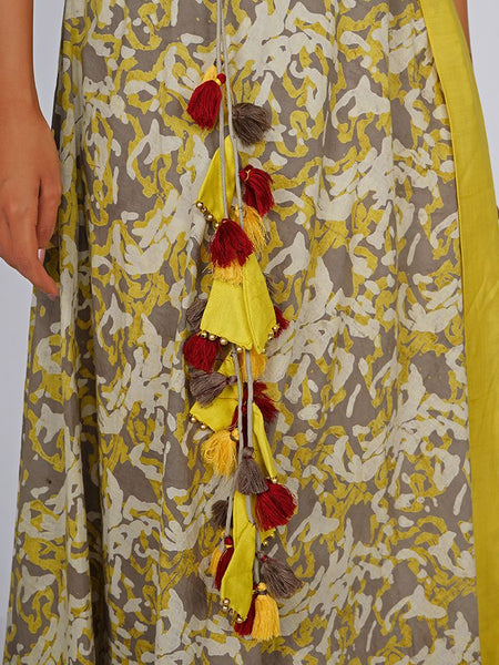 Beads, Cone Tassel & Fringed Tasselled Cutaway Double Layered Cotton Kurti