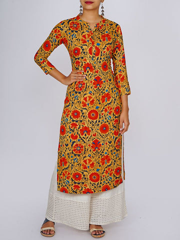 Wooden Buttoned Floral Baile Jaal Print Kurti