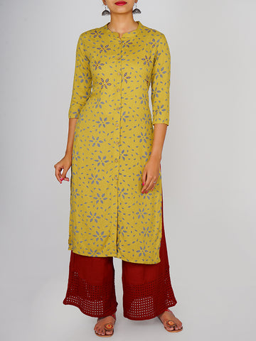 Sequins, Beads & Resham Work Almond Print Kurti