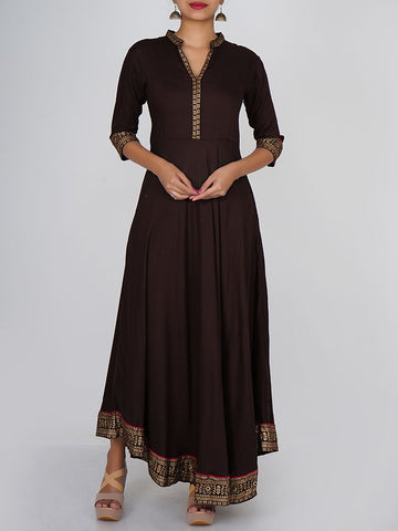 Golden Khadi Printed Floral & Ethnic Bordered Kurti - Chocolate Brown