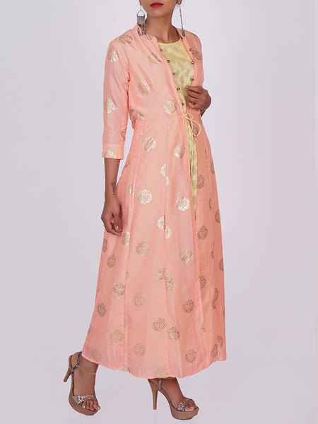 Foil Printed Art Silk-Crepe Jacket & Cotton Jacquard Kurti-Peach