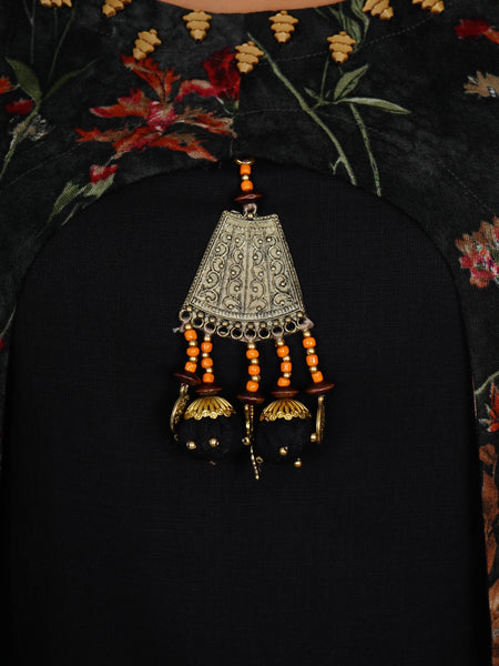 Beads, Charms & Potli Latkan Oxidised Brooch With Cutaway Layered Kurti