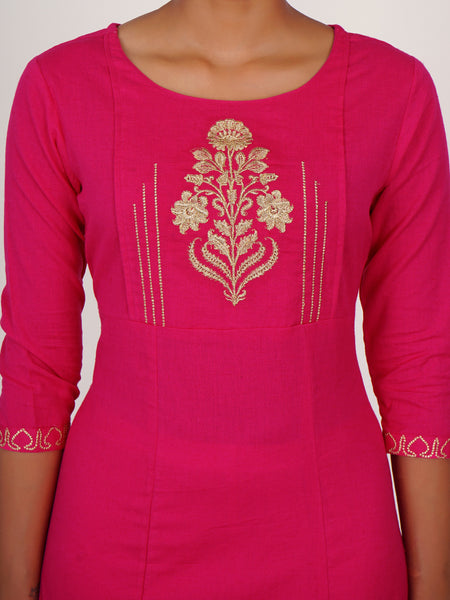 Floral Zari Work Pin Tuck Yoke Cotton Handloom Kurti