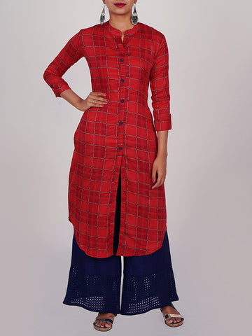 Striped Chequered Printed Apple Cut Cotton Kurti-Red