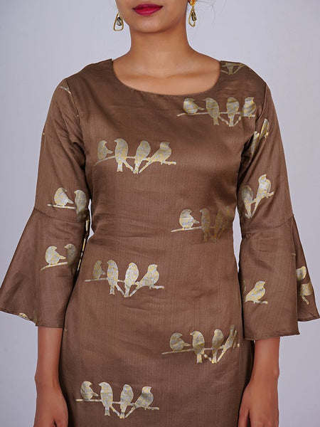 Foil Printed Bird Buti With Frill Sleeves Silk-Cotton Kurti