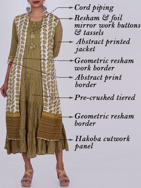 Hakoba Work Jacket & Resham Buttons & Tasselled Pre-Crushed Cotton Kurti-Olive Grey