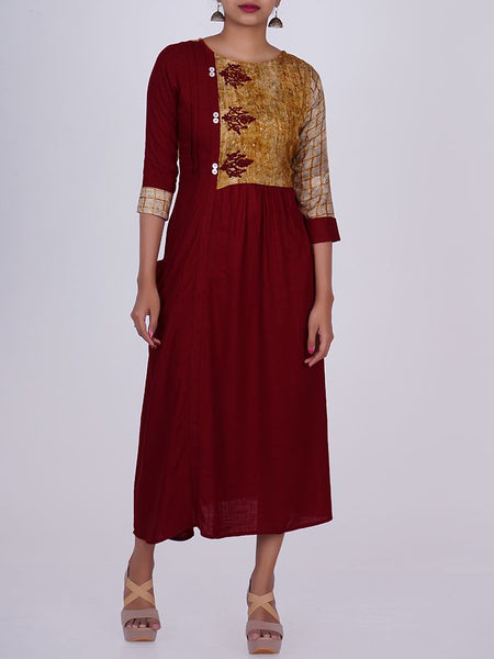 Resham Work & Mother-of-Pearl Buttoned Layered Yoke Kurti
